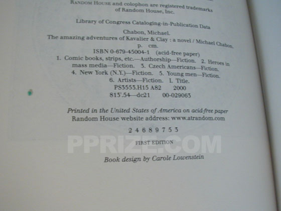 Picture of the first edition copyright page for The Amazing Adventures of Kavalier and