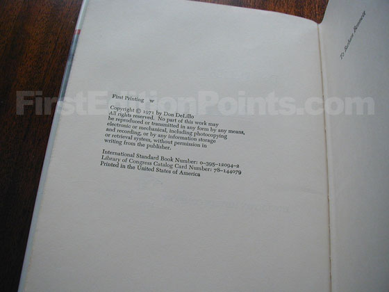 Picture of the first edition copyright page for Americana.