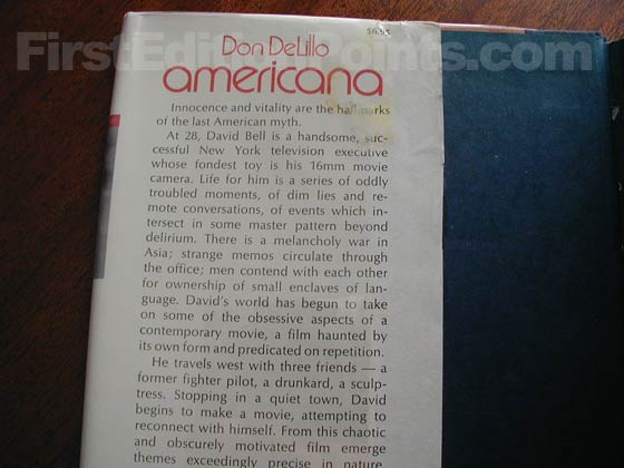 Picture of dust jacket where original $6.95 price is found for Americana.