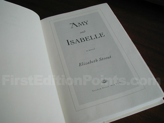 Picture of the first edition title page for Amy and Isabelle.