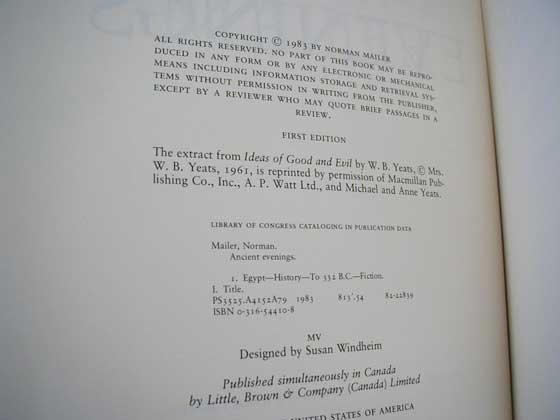 Picture of the first edition copyright page for Ancient Evenings.