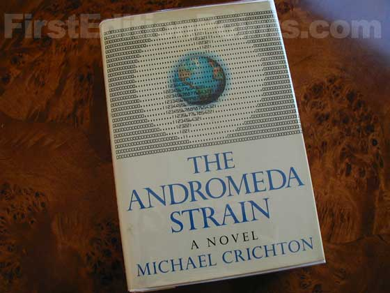 Picture of the 1969 first edition dust jacket for The Andromeda Strain.
