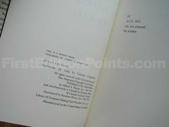 Picture of the first edition copyright page for The Andromeda Strain.