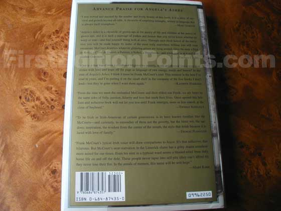 Picture of the back dust jacket for the first edition of Angela's Ashes.