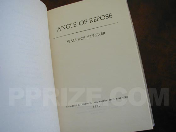 Picture of the first edition title page for Angle of Repose.