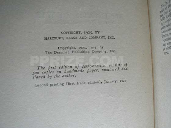 Copyright page from the first trade edition.