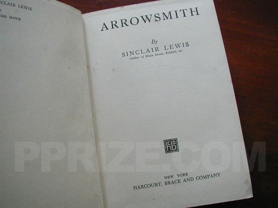 The title page from the first trade edition of Arrowsmith.