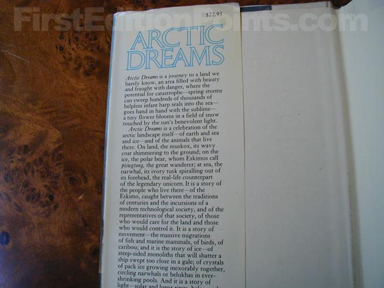 Picture of dust jacket where original $22.95  price is found for Artic Dreams.