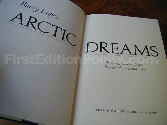 Picture of the first edition title page for Artic Dreams.