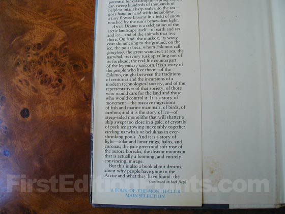 Picture of bottom front flap of the first edition of Artic Dreams.