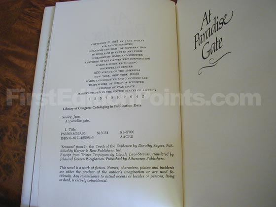Picture of the first edition copyright page for At Paradise Gate.