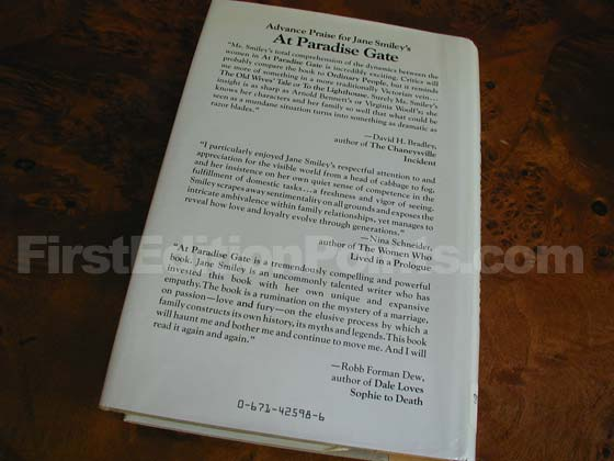 Picture of the back dust jacket for the first edition of At Paradise Gate.