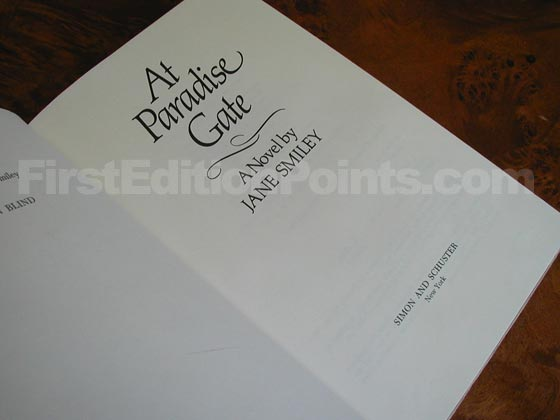 Picture of the first edition title page for At Paradise Gate.