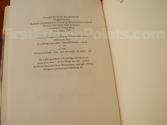 Picture of the first edition copyright page for At Weddings and Wakes.