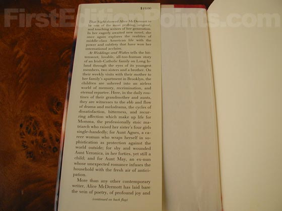 Picture of dust jacket where original $19.00 price is found for At Weddings and Wakes.