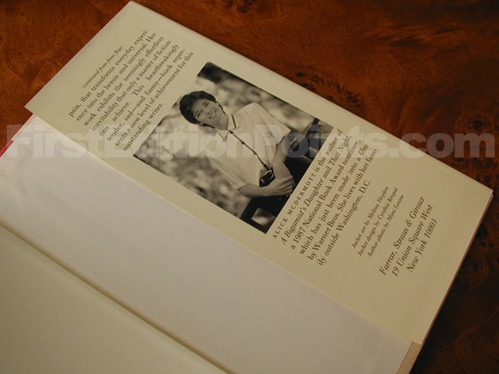 Picture of the back dust jacket flap for the first edition of At Weddings and Wakes.