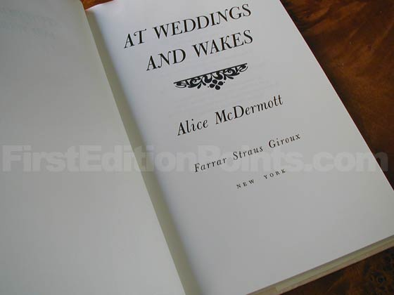 Picture of the first edition title page for At Weddings and Wakes.
