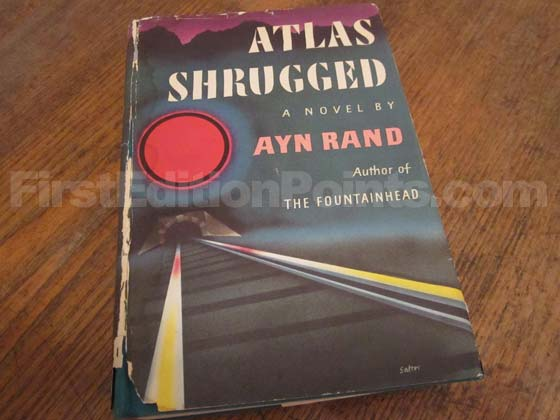 Picture of the 1957 first edition dust jacket for Atlas Shrugged. Photo courtesy of Dale