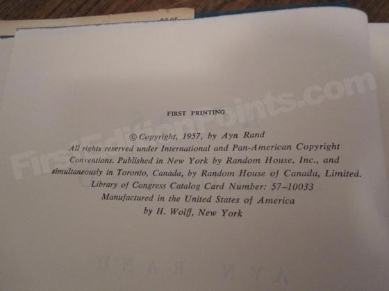 Picture of the first edition copyright page for Atlas Shrugged. Photo courtesy of Dale