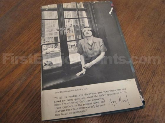 Picture of the back dust jacket for the first edition of Atlas Shrugged. Photo courtesy