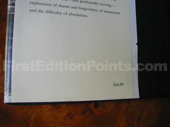 Picture of dust jacket where original £16.99 price is found for Atonement.