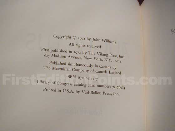 Picture of the first edition copyright page for Augustus.