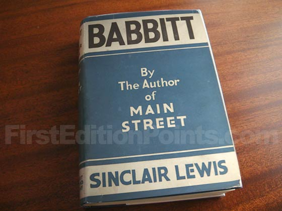 Picture of the 1922 first edition dust jacket for Babbitt.