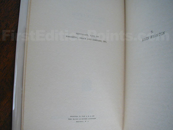 Picture of the first edition copyright page for Babbitt.