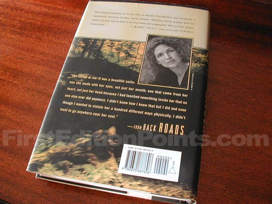 Picture of the back dust jacket for the first edition of Back Roads.