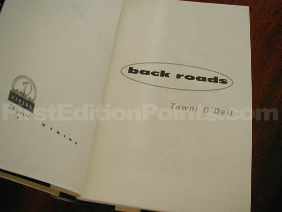 Picture of the first edition title page for Back Roads.