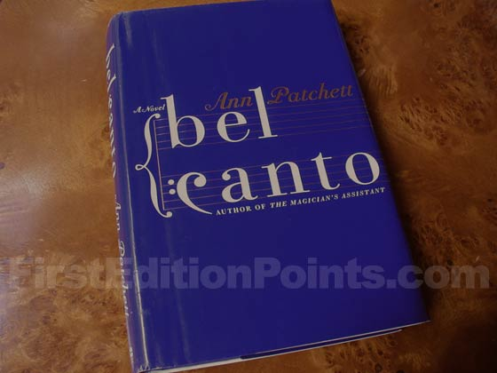 Picture of the 2001 first edition dust jacket for Bel Canto.