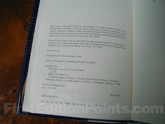 Picture of the first edition copyright page for Bel Canto.