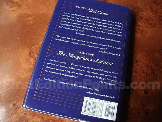 Picture of the back dust jacket for the first edition of Bel Canto.
