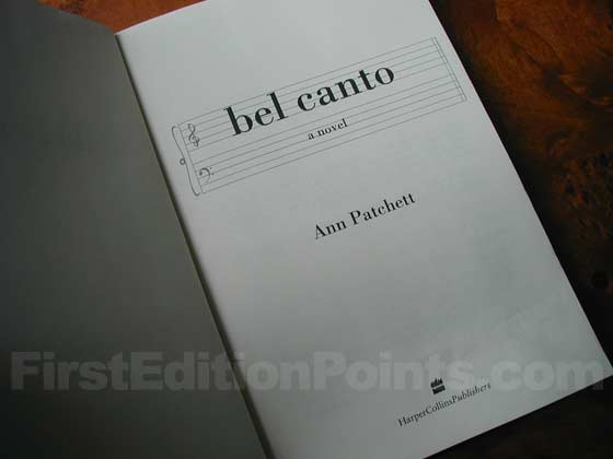 Picture of the first edition title page for Bel Canto.