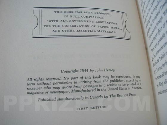 Picture of the first edition copyright page for A Bell For Adano.