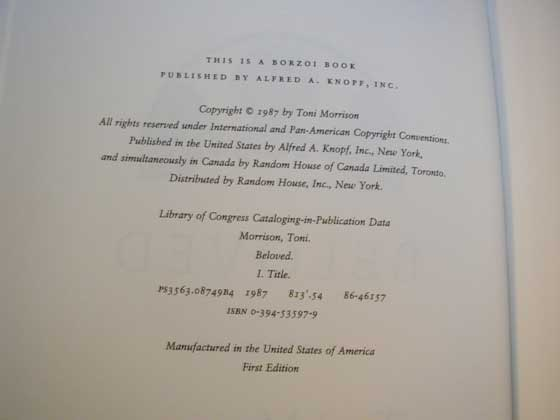 Picture of the first edition copyright page for Beloved.