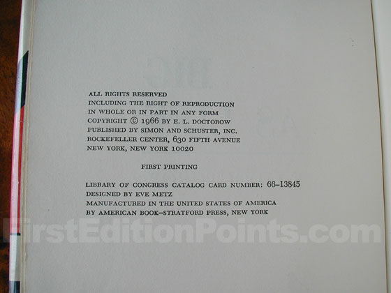Picture of the first edition copyright page for Big As Life.