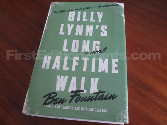 Picture of the 2012 first edition dust jacket for Billy Lynn's Long Halftime Walk.