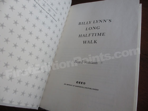 Picture of the first edition title page for Billy Lynn's Long Halftime Walk.