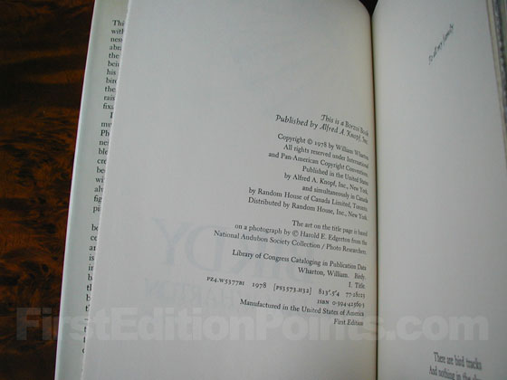 Picture of the first edition copyright page for Birdy.