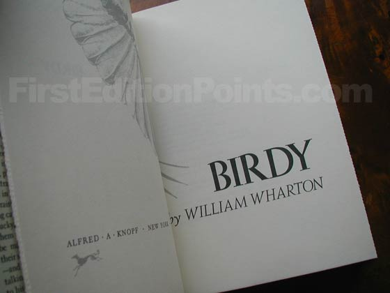 Picture of the first edition title page for Birdy.