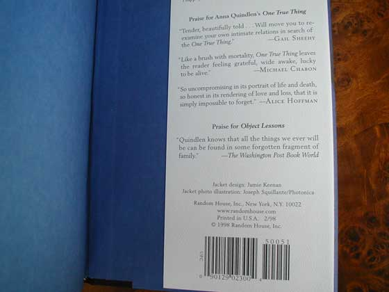 Picture of the back dust jacket flap for the first edition of Black and Blue.