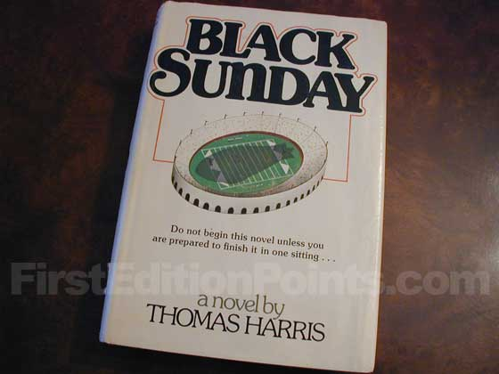 Picture of the 1975 first edition dust jacket for Black Sunday.