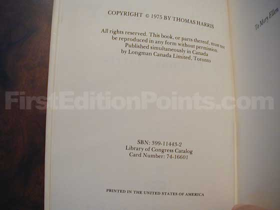 Picture of the first edition copyright page for Black Sunday.