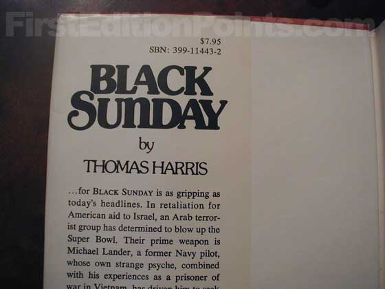 Picture of dust jacket where original $7.95 price is found for Black Sunday.