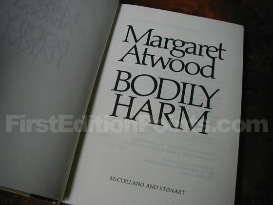 Picture of the first edition title page for Bodily Harm.