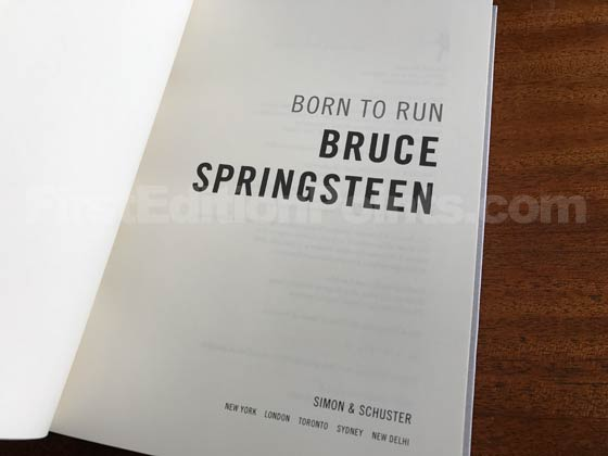 Picture of the first edition title page for Born to Run.