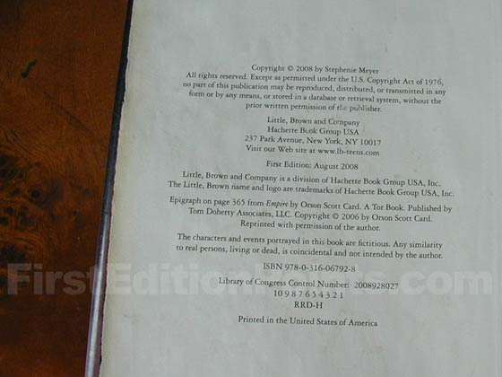 Picture of the first edition copyright page for Breaking Dawn.