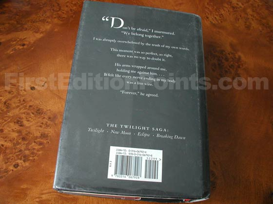 Picture of the back dust jacket for the first edition of Breaking Dawn.