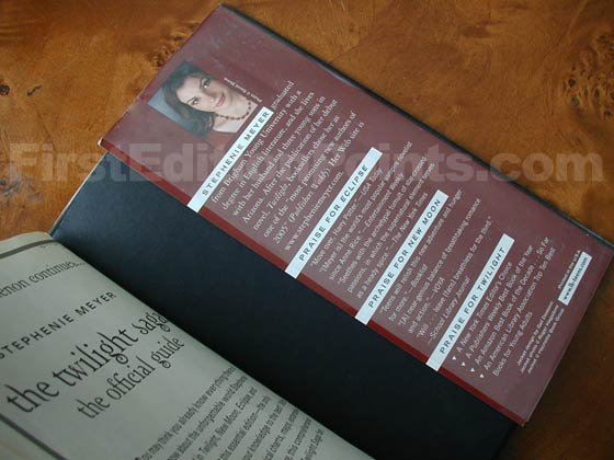 Picture of the back dust jacket flap for the first edition of Breaking Dawn.